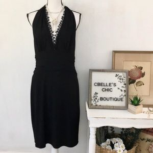 Nine West Black Eyelet V-Neck Ruched Halter Dress